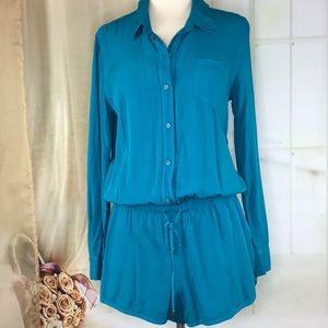 Splendid Turquoise Long Sleeved Romper